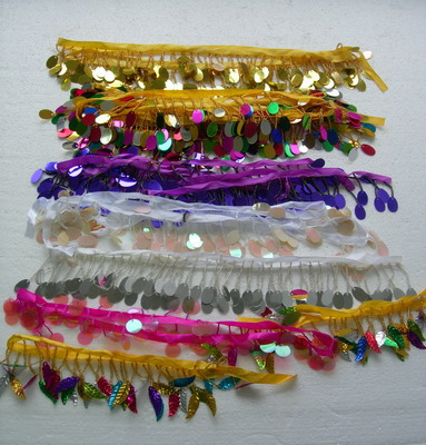 FR135 Oval Paillette Bead Fringe Multicolored Assorted 10yards