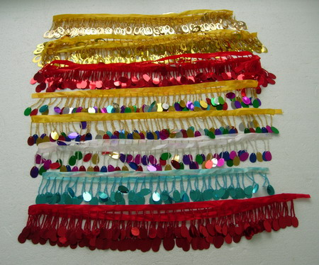 FR139 Oval Paillette Bead Fringe Multicolored Assorted 10yards