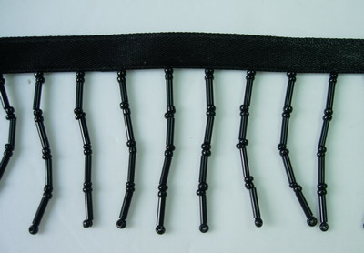 "FR58 2"" wide Black Bugle Bead Fringe"