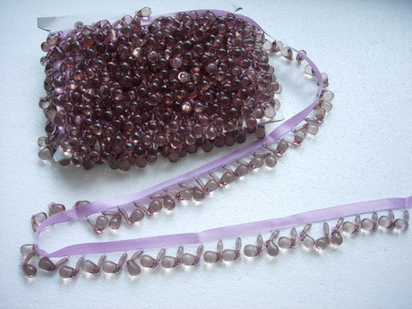 FR66 Burgundy Grape Teardrop Beaded Fringe for Lampshade/Curtain