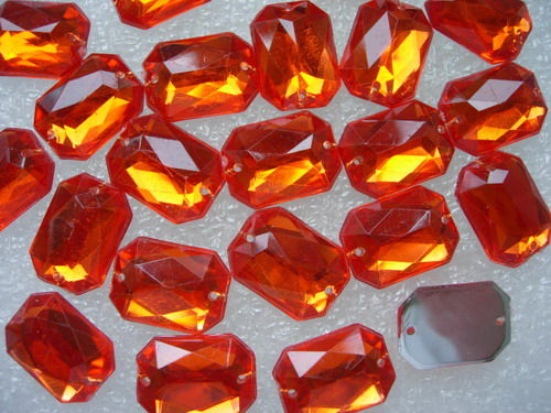 RA101 13x18mm Orange Octagon Acrylic Gemstones Sew On 20pcs