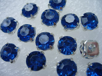 RM41 SS38 8mm Blue Acrylic Round Gemstones with Setting x20