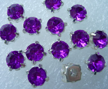 RM44 SS38 8mm Purple Acrylic Round Gemstones with Setting x20