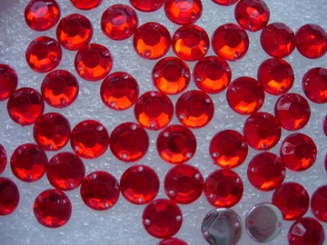 RA25 9mm red Acrylic Round Gemstones Sew-On Gems 30pcs