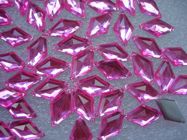 RA33 10x18mm Pink Rhombus Diamond Acrylic Gemstones Sew-On 30pc