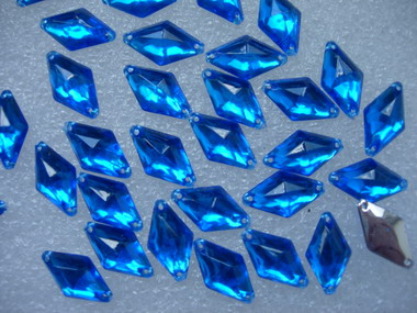 RA37 10x18mm Royal Blue Rhombus Acrylic Gemstones Sew-On 30pcs