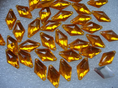 RA38 10x18mm Gold Rhombus Acrylic Gemstones Sew-On 30pcs