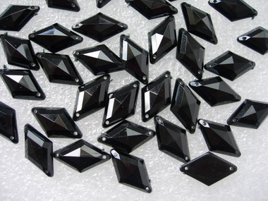RA40 10x18mm Black Rhombus Acrylic Gemstones Sew-On 30pcs