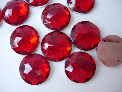 RA81 18mm Red Acrylic Round Gemstones Gems Sew On 20pcs
