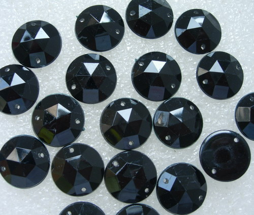 RA83 18mm Black Acrylic Round Gemstones Gems Sew On 20pcs