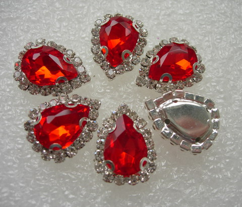 RM100 10x14 Red Teardrop Crystal Gemstones Diamante w/Setting x6