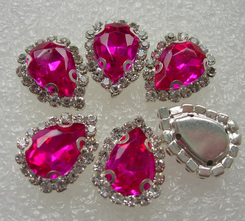 RM101 10x14 Fuchsia Teardrop Crystal Diamante w/Setting 6pc