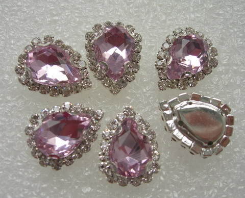 RM102 10x14 Pink Teardrop Crystal Diamante w/Setting 6pc