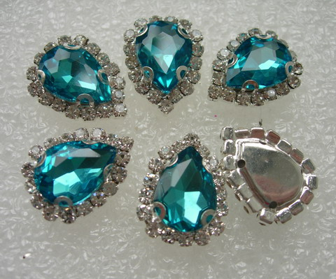 RM103 10x14 Aqua Teardrop Crystal Diamante w/Setting 6pc