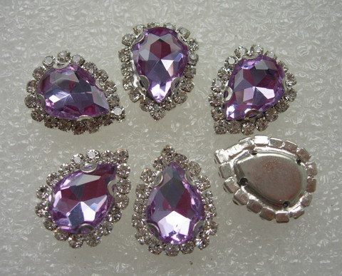 RM105 10x14 Lavender Teardrop Crystal Diamante w/Setting 6pc