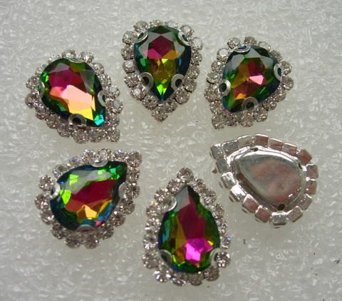 RM107 10x14 Colorful AB Teardrop Crystal Diamante w/Setting 6pc