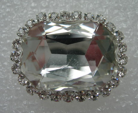 RM116 18x25 Octagon Gemstone Diamante with Setting Crystal Clear