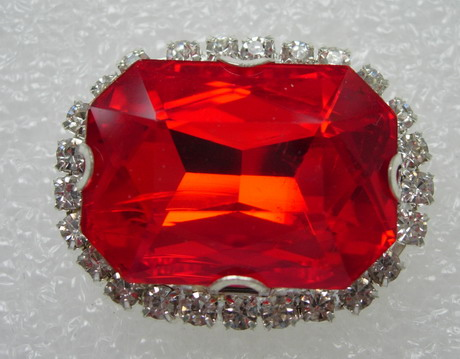 RM117 18x25 Octagon Gemstone Diamante with Setting Jewelry Red