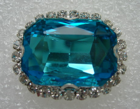 RM122 18x25 Octagon Gemstone Diamante w/Setting Turquoise