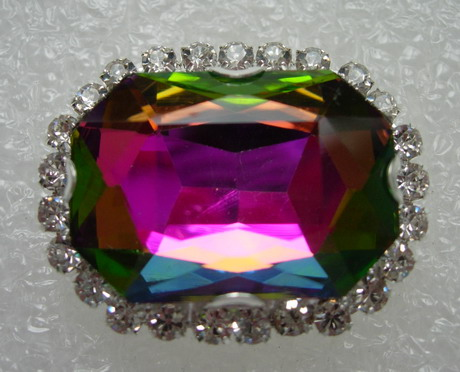 RM123 18x25 Octagon Gemstone Diamante w/Setting Colorful AB