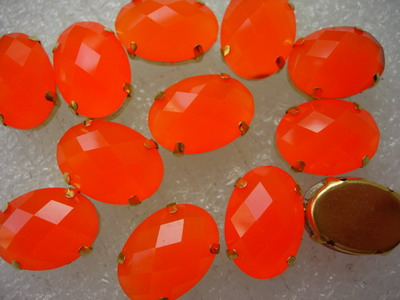 RM73 13x18mm Neon Orange Resin Gemstones with Setting x20