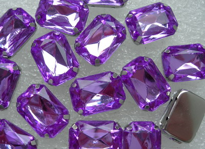 RM85 13x18mm Amethyst Acrylic Octagon Gemstones with Setting x15