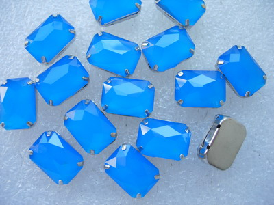 RM89 13x18mm Neon Blue Resin Octagon Gemstones w/ Setting x20