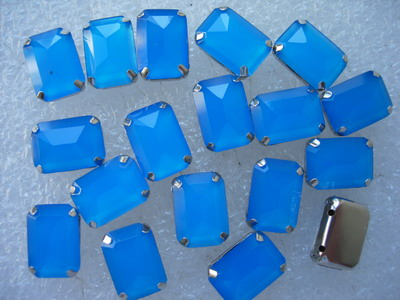 RM98 10x14mm Neon Blue Resin Octagon Gemstones w/ Setting x20