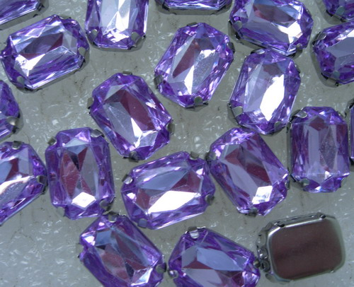 RM99 10x14mm Purple Acrylic Octagon Gemstones w/ Setting x20