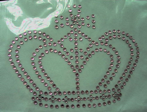HF04 CROWN Iron-on Hotfix Pink Rhinestones Hotfix Motif Applique