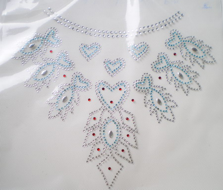 HF89 Dress Necklace Hotfix Rhinestone Heat Transfer Motif