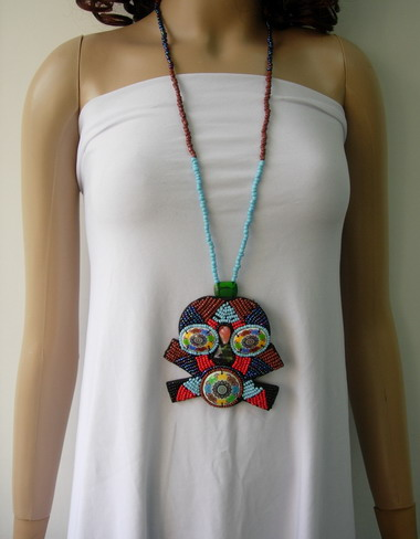 JW14 Embroidered Bead Necklace Jewelry w/Punk Skull Pendant