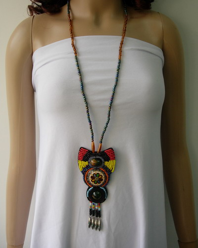 JW17 Corlorful Bead Embroidery Necklace Pendant Unique Jewelry