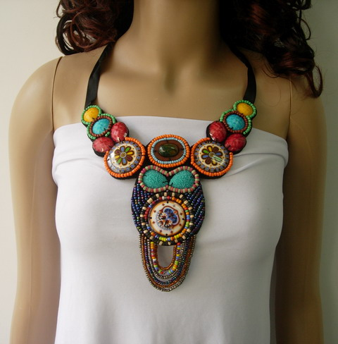 JW19 Corlorful Gemstone Bead Embroidery Collar Necklace Jewelry