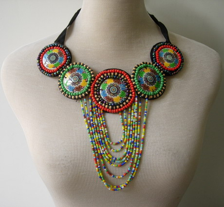 JW22 Ethnic Style Embroidered Bead Gems Collar Necklace Motif