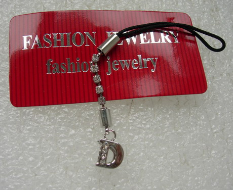 JW28 Silver Tone Rhinestone Alphabet LETTER D Cell Phone Strap