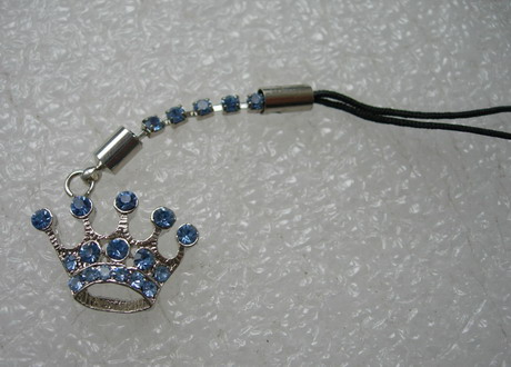 JW32 Silver Tone Blue Rhinestone Crown Cell Phone Strap Charm