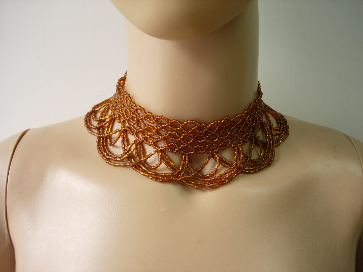 "JW68 13.5"" Brown Beaded Bugle Woven Fringed Choker Necklace"
