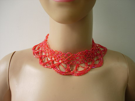 "JW69 15"" Red Beaded Bugle Woven Fringed Choker Necklace"