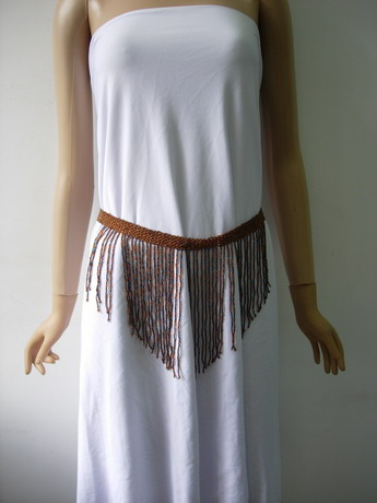 JW75 Brown Fringed Beaded Bugle Fashion Belt Hip Belly Dance