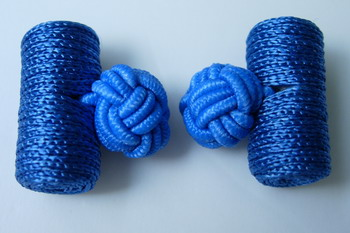CU01 Royal Blue Silk Knot Log Cufflinks