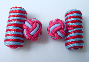 CU02 Silk Knot Log Cufflinks Red Blue