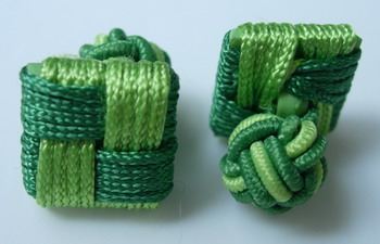 CU05 Stylist Silk Knot Log Cufflinks Cuff Links Green /Lime
