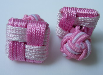CU06 Square Silk Knot Log Cufflinks Cuff Links Pink /White