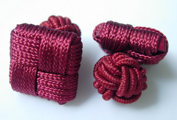 CU08 Square Silk Knot Log Cufflinks Cuff Links Maroon