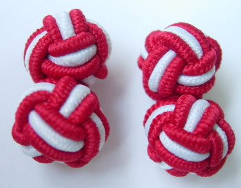CU09 Ball Silk Knot Log Cufflinks Cuff Links Maroon /White