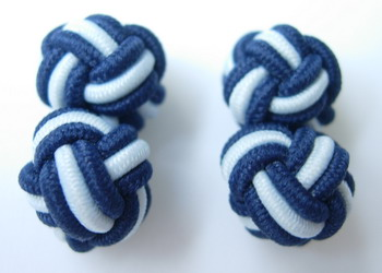 CU10 Ball Silk Knot Log Cufflinks Cuff Links Deep Blue /White