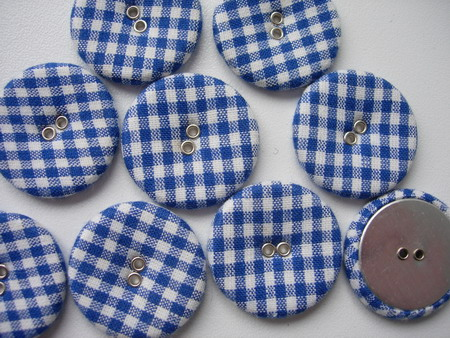 DM17 28mm Checkered Fabric Covered Buttons Blue 10pcs