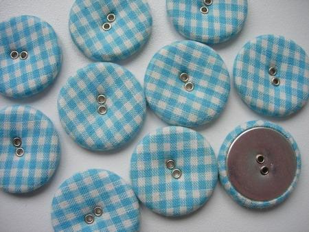 DM18 28mm Checkered Fabric Covered Buttons L.Blue 10pcs