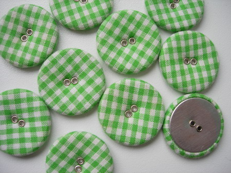DM20 28mm Checkered Fabric Covered Buttons L.Green 10pcs